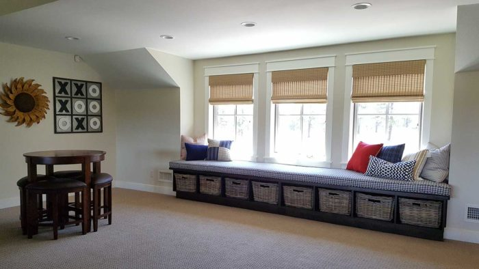 long Bench and pillows in a large space