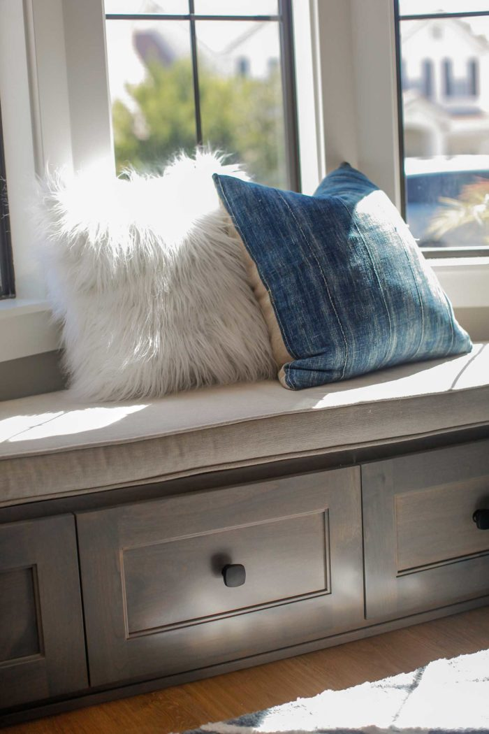 Bench cushion with pillows