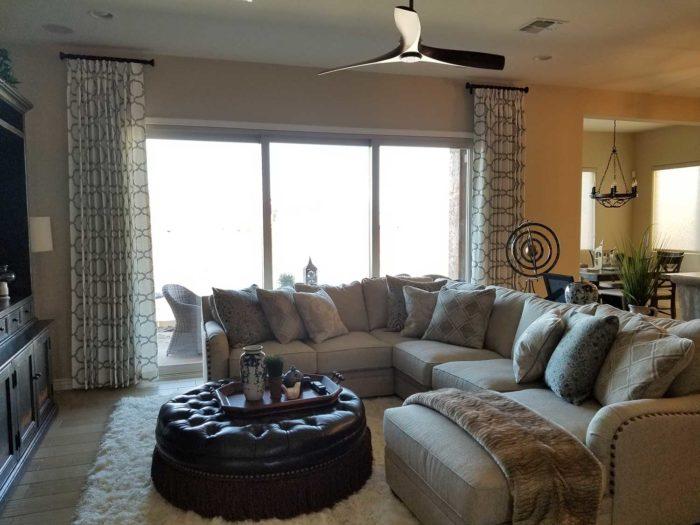 Side Panels on short rods in large living room