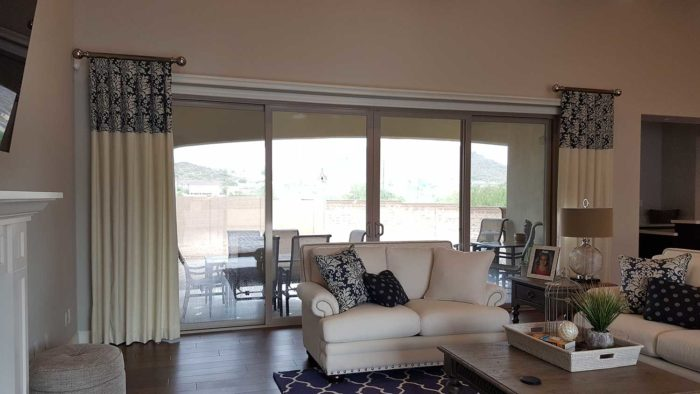Side Panels over large french windows in the living room