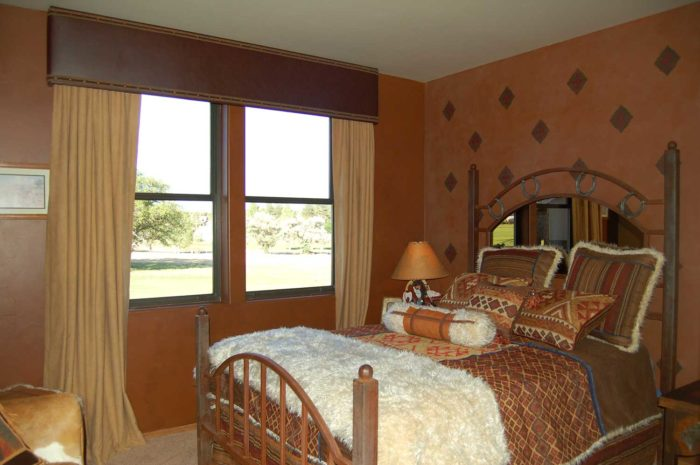 Western Cornice with Braid in bedroom