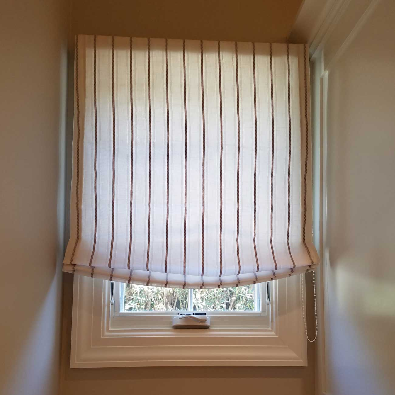 cotton white striped curtain
