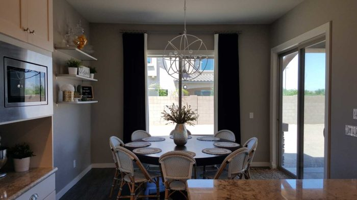 dining space with circular table for eight