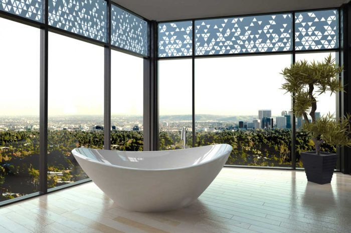 corner room with floor-to-ceiling glass panes and a porcelain bath