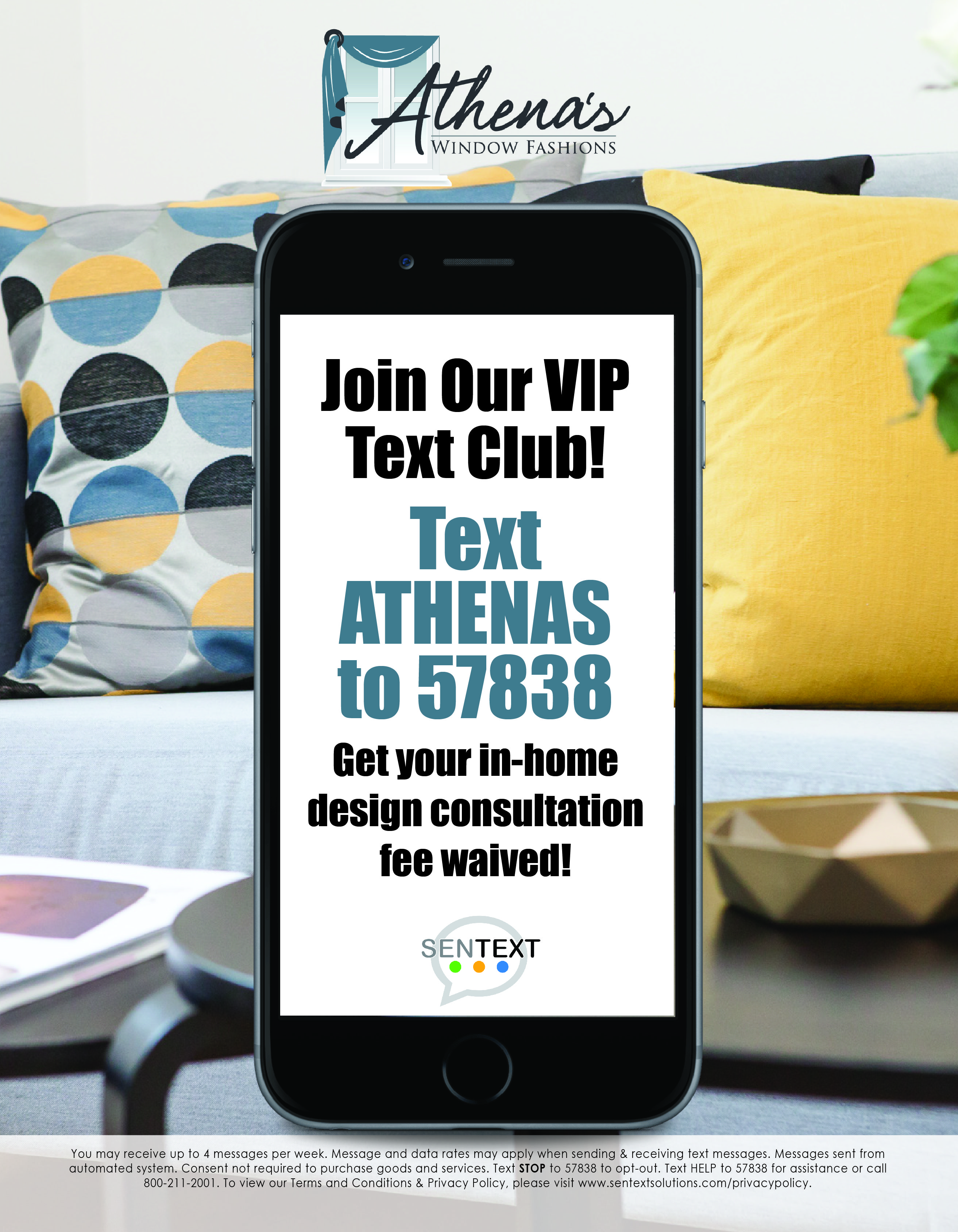 Advert to join Athena's VIP text club